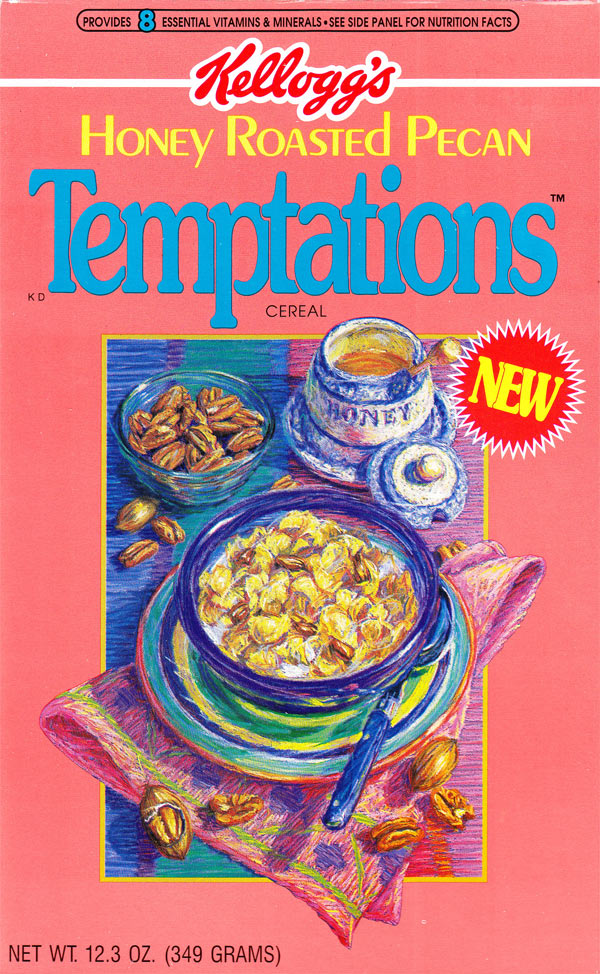 Honey Roasted Pecan Temptations Cereal Box (Front)