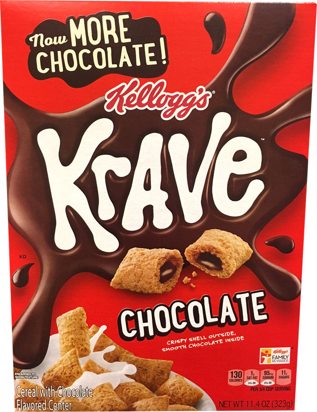 Chocolate Krave Cereal Box From 2017