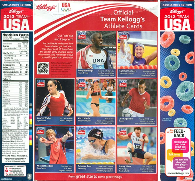 Kellogg's 2012 Team USA Cereal - Back And Sides