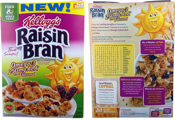 Kellogg's Raisin Bran Omega-3 250mg ALA from Flaxseed Cereal