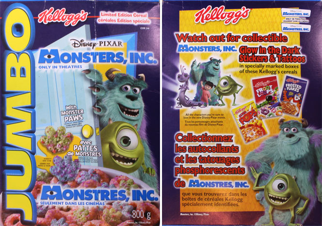 2001 Monsters, Inc. Cereal Box