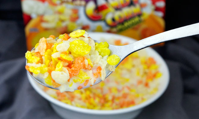 Candy Corn Pebbles In The Spoon