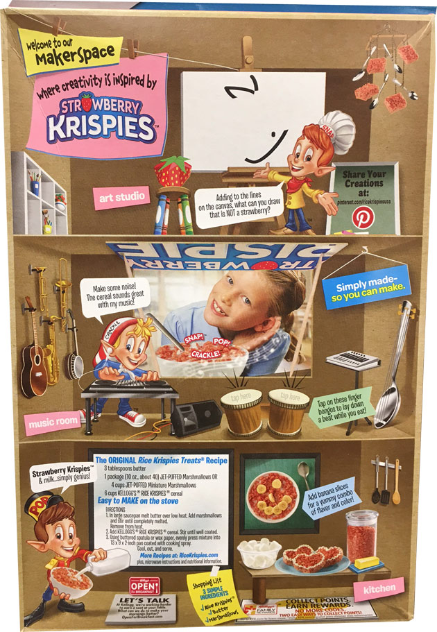 Reintroduced 2019 Strawberry Krispies Cereal Box - Back