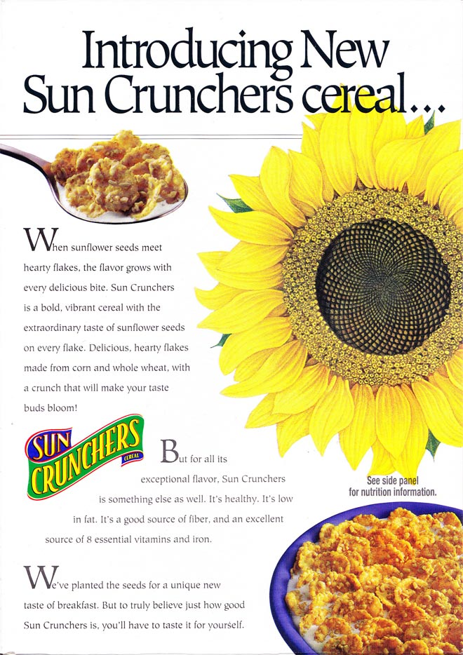 Sun crunchers cereal mrbreakfast sun crunchers cereal box back ccuart Image collections