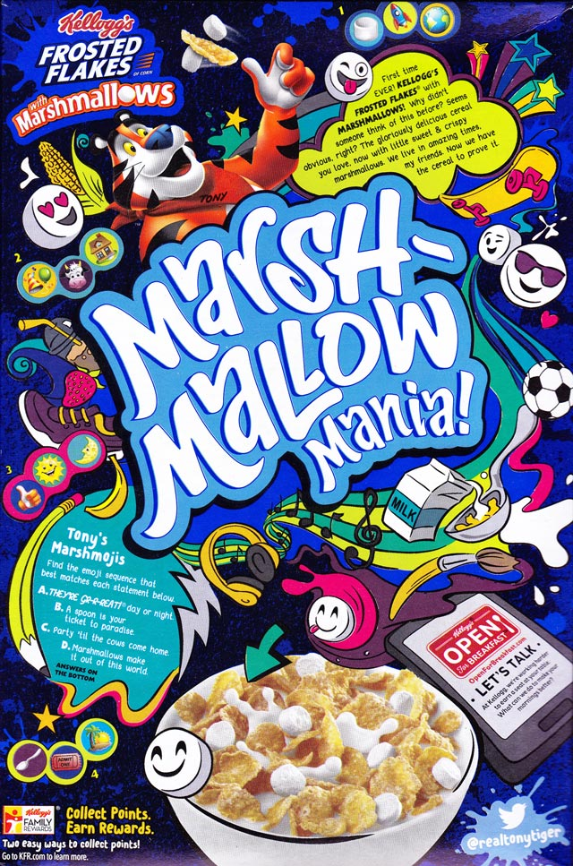 Frosted Flakes With Marshmallows Cereal Box (Back)