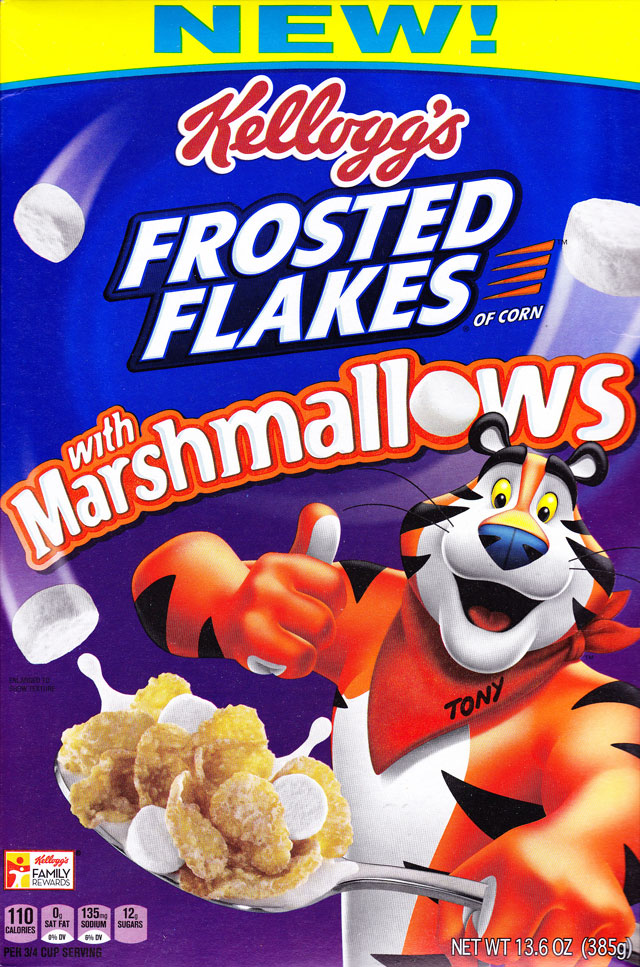 Frosted Flakes With Marshmallows Cereal Box (Front)