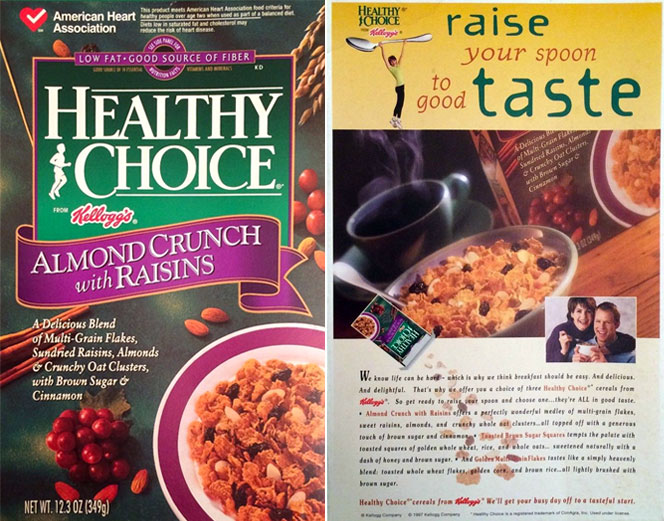Kellogg's Healthy Choice Cereal Box from 1997
