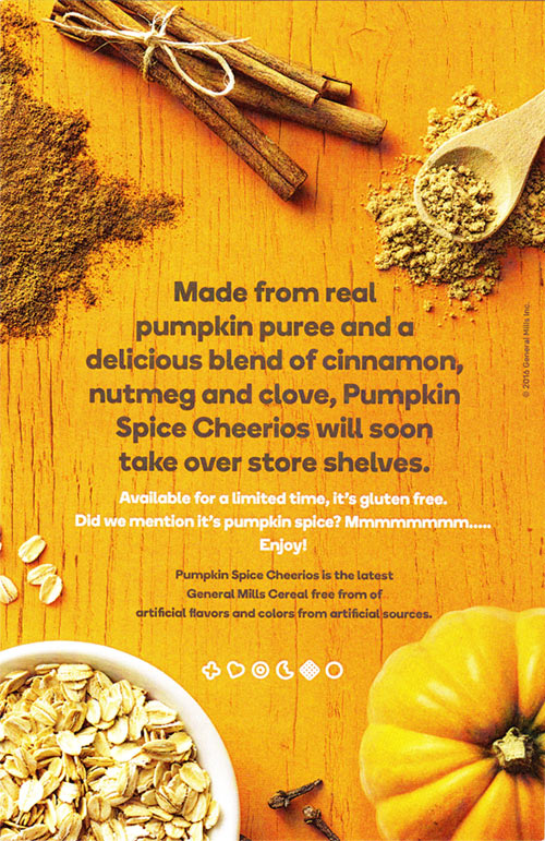 Pumpkin Spice Cheerios Cereal Promotional Card