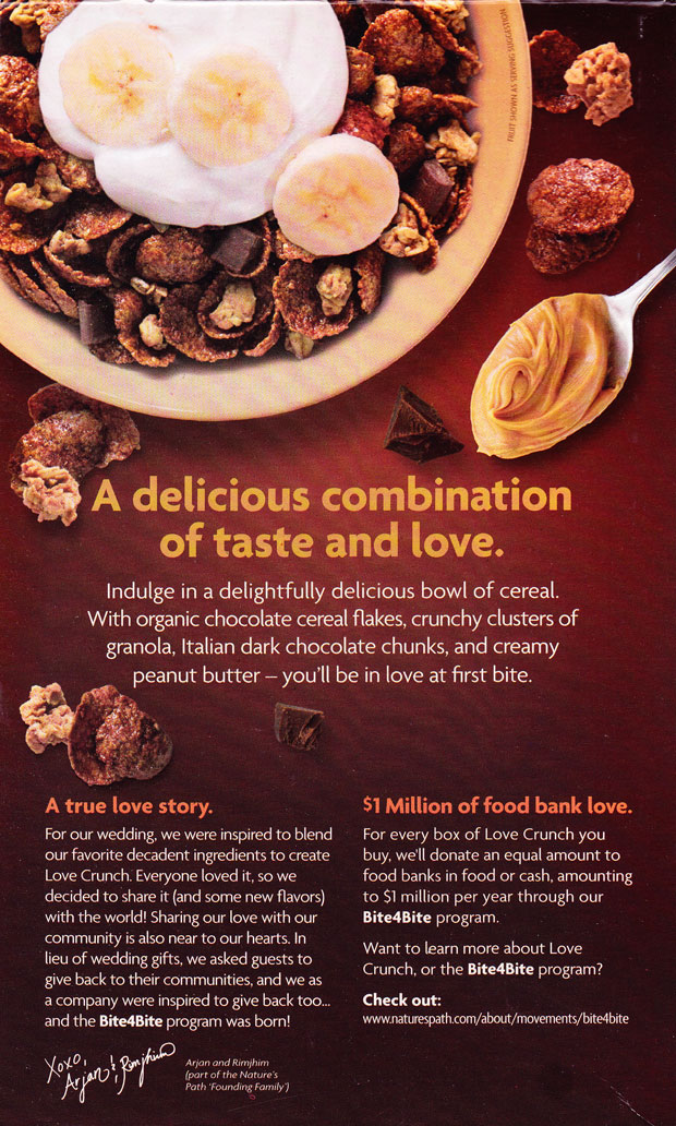 Dark Chocolate & Peanut Butter Love Crunch Cereal Box - Back