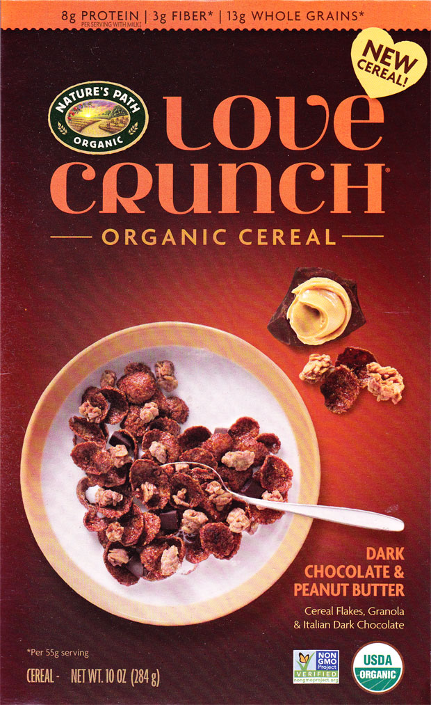 Dark Chocolate & Peanut Butter Love Crunch Cereal Box - Front