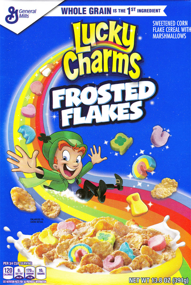 Lucky Charms Frosted Flakes Cereal Box - Front