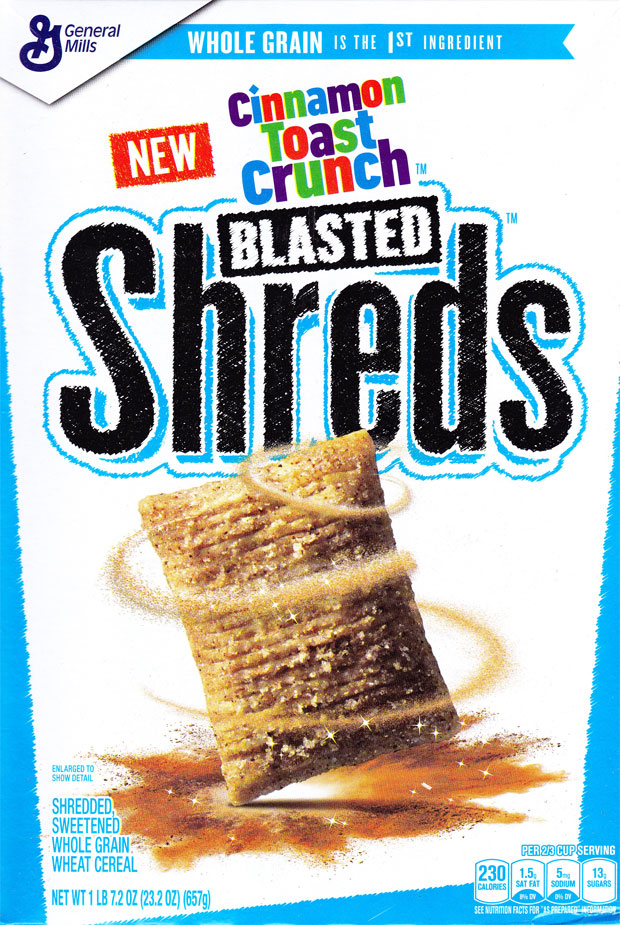 Cinnamon Toast Crunch Blasted Shreds Cereal Box - Front