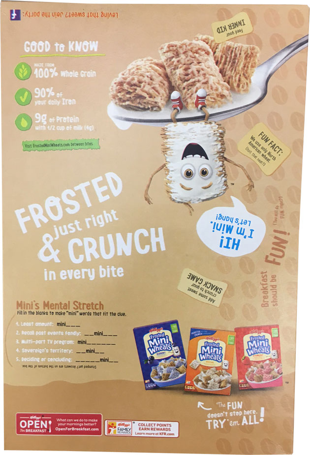 Vanilla Latte Frosted Mini-Wheats Cereal Box - Back