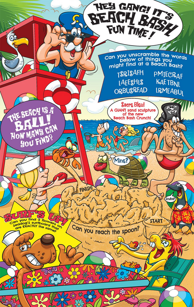 Cap'n Crunch's Beach Bash Crunch Cereal Box - Back