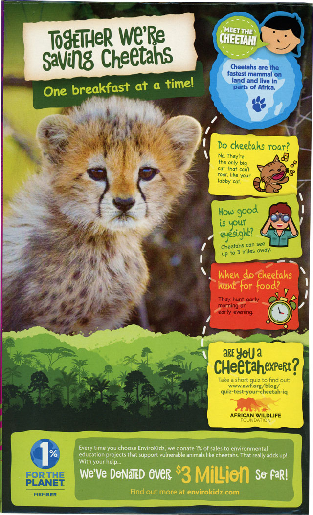 Berry Blast Cheetah Chomps Cereal Box - Back
