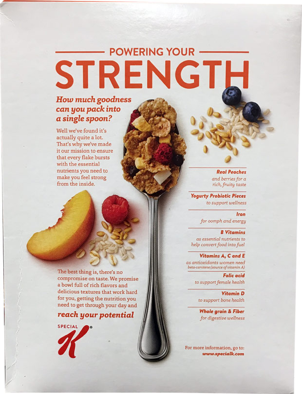 Special K Probiotics Cereal Box - Back