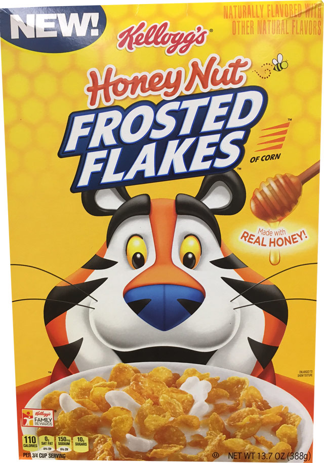 Honey Nut Frosted Flakes Cereal Box