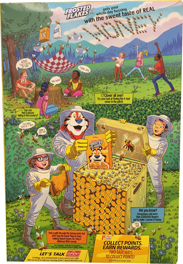 Honey Nut Frosted Flakes Cereal Box - Back
