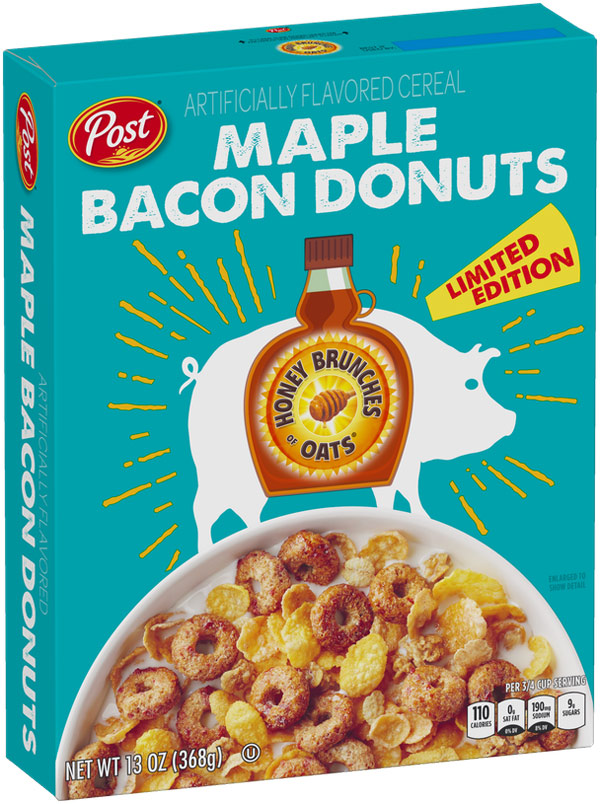 Maple Bacon Donuts Honey Bunches of Oats Cereal Box