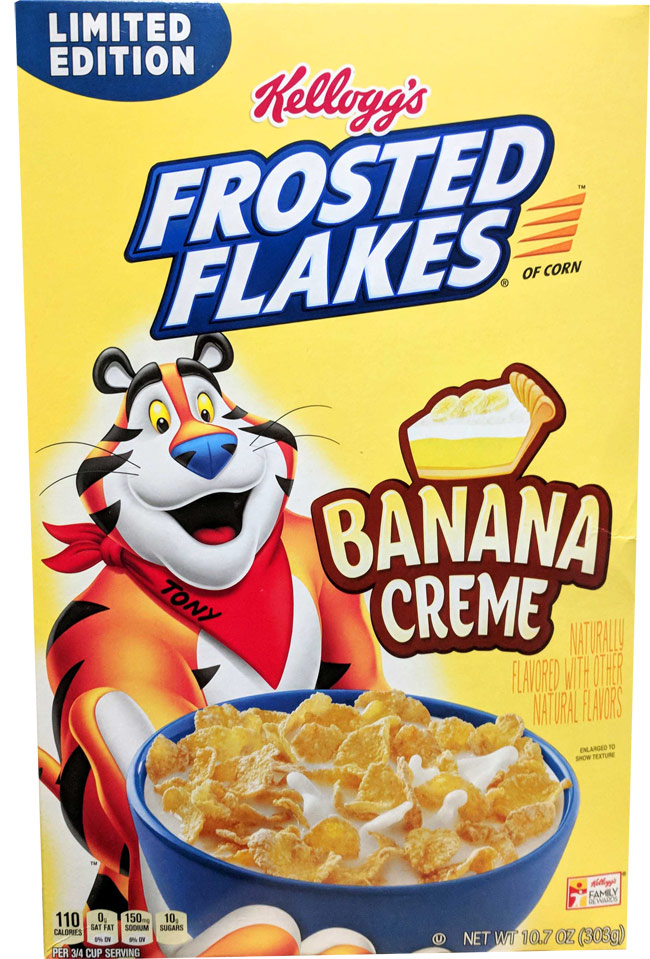 Banana Creme Frosted Flakes Cereal Box
