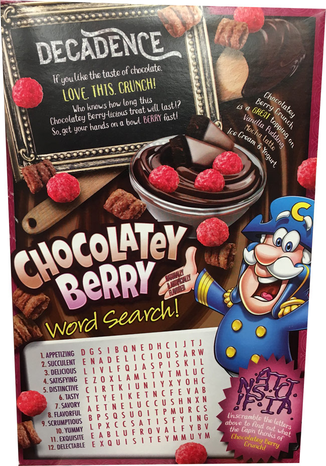Chocolatey Berry Crunch Cereal Box - Back