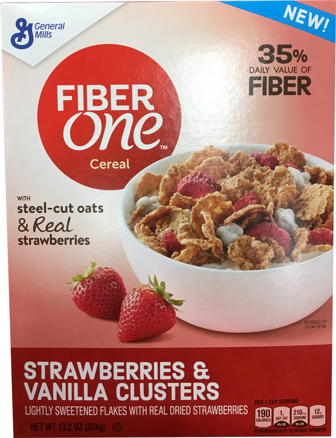 Fiber One Strawberries & Vanilla Clusters Cereal Box