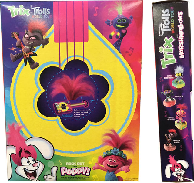 Trix Trolls World Tour Cereal Box - Back
