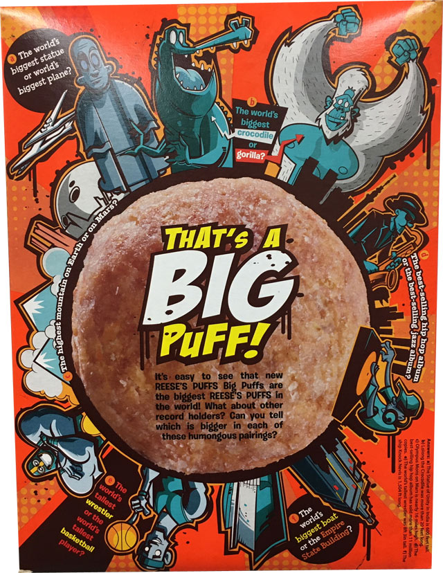 Reese's Puffs Big Puffs Cereal Box - Back