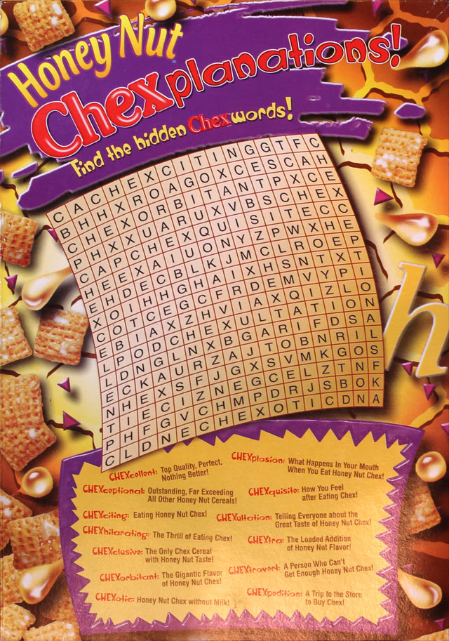 Honey Nut Chex Cereal Box (Back)