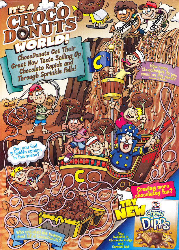 Cap'n Crunch's Oops! Choco Donuts Cereal Box (Back)