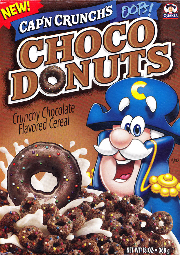 Cap'n Crunch's Oops! Choco Donuts Cereal Box (Front)