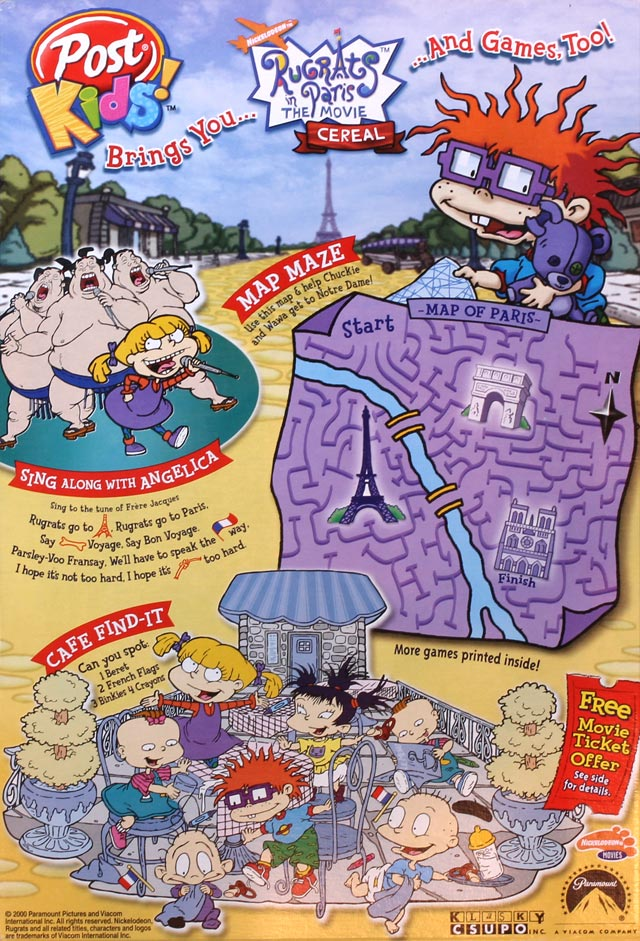 Rugrats In Paris Cereal Box Back