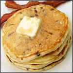 Chocolate Chip Pancakes with Honey Syrup