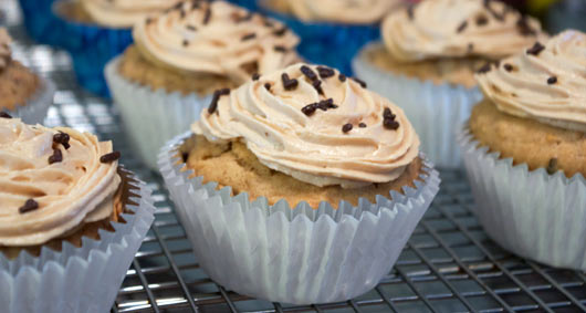 Walnut Muffins With Coffee Icing
