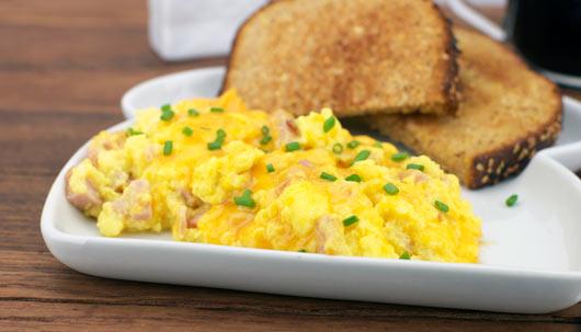 Cheesy Ham Scramble Recipe | MrBreakfast.com