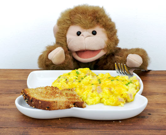 Monkey Eating Cheesy Ham Scramble