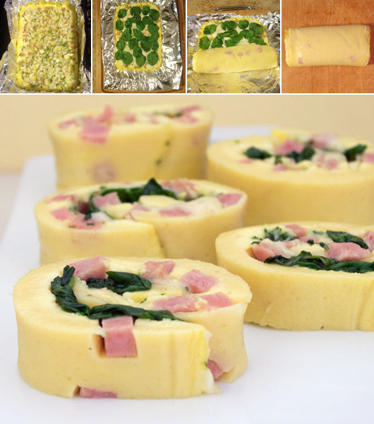 Ham And Swiss Omelet Roll