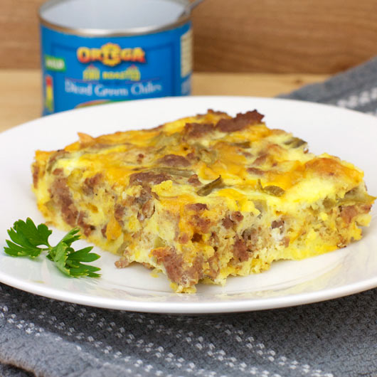 Serving of Green Chile Egg Casserole