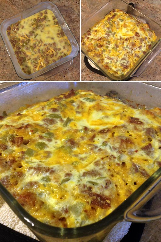 Making a Green Chile Egg Casserole