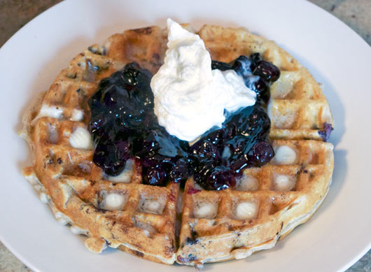 Whole Grain Blueberry Waffle with homemade blueberry topping