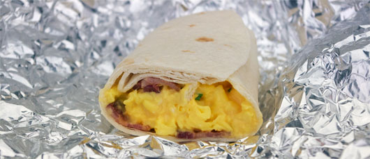 Scrambled Eggs With Cheese In A Burrito