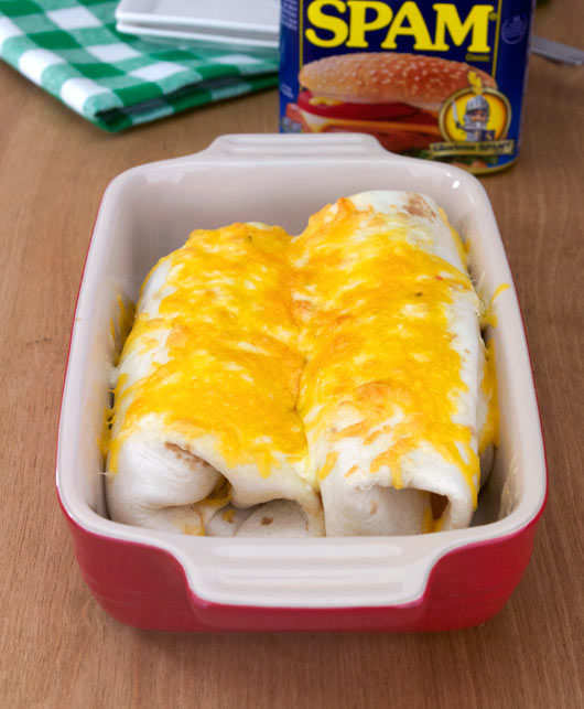Spam Breakfast Burritos In The Pan