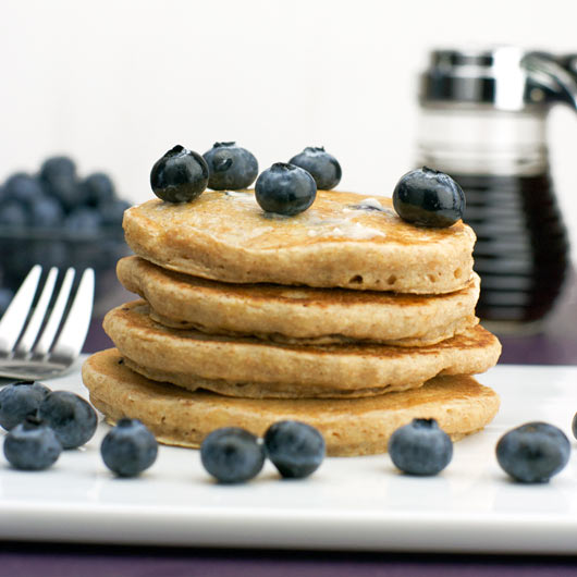 Stack of Healthy Whole Wheat Blueberry Pancakes