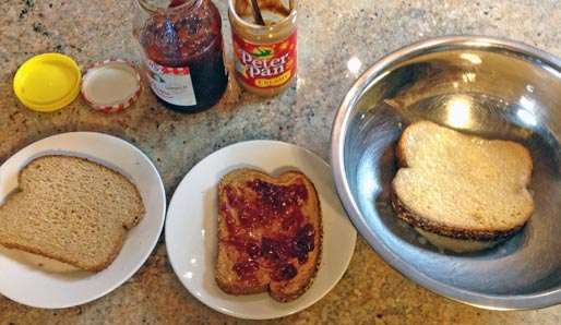 Making Peanut Butter And Jelly French Toast