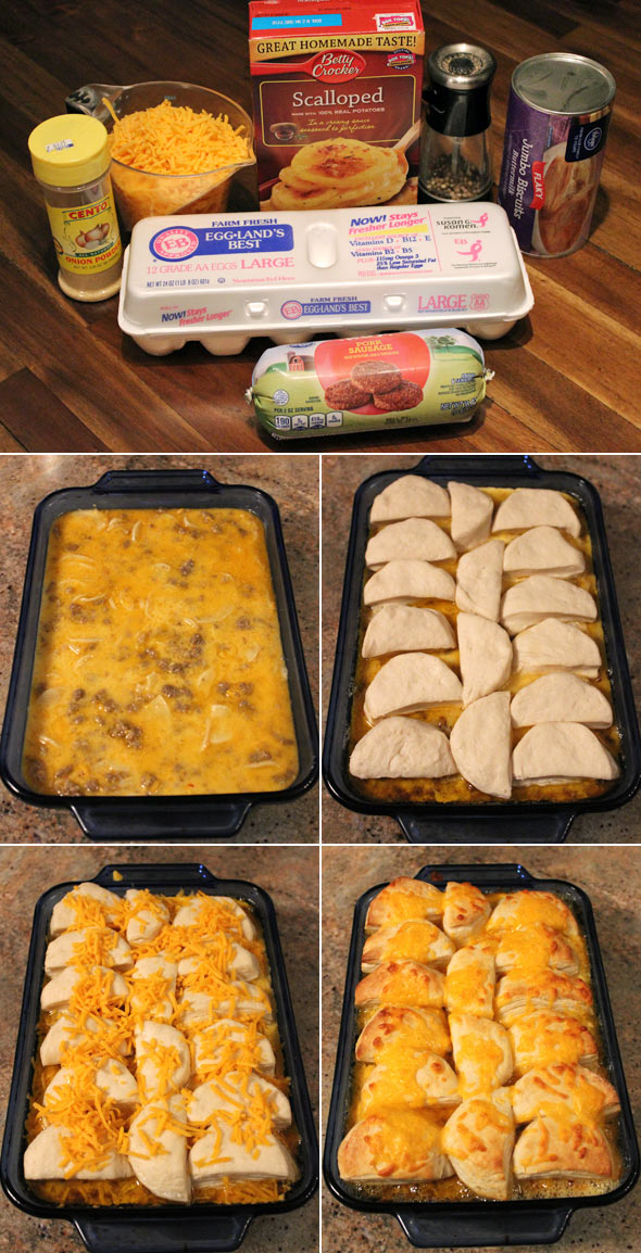 Making a Biscuit-Topped Breakfast Casserole