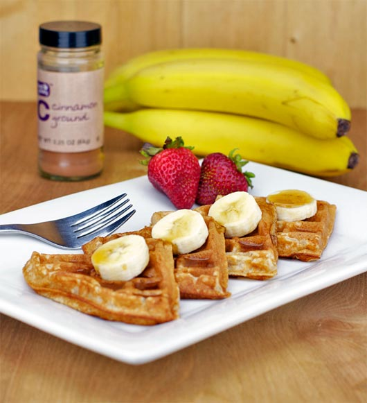 Serving Banana Cinnamon Waffles