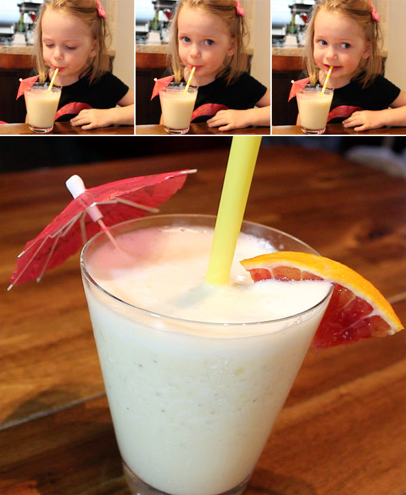 Enjoying a Pina Colada Smoothie