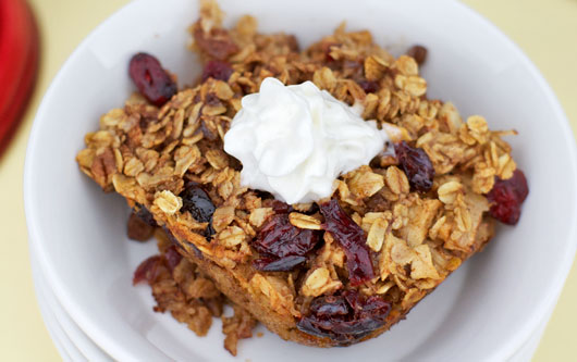 Baked Cranberry Oatmeal With Whipped Cream