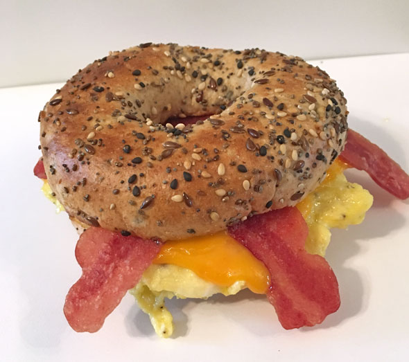 Basic Bacon Bagel Breakfast Sandwich