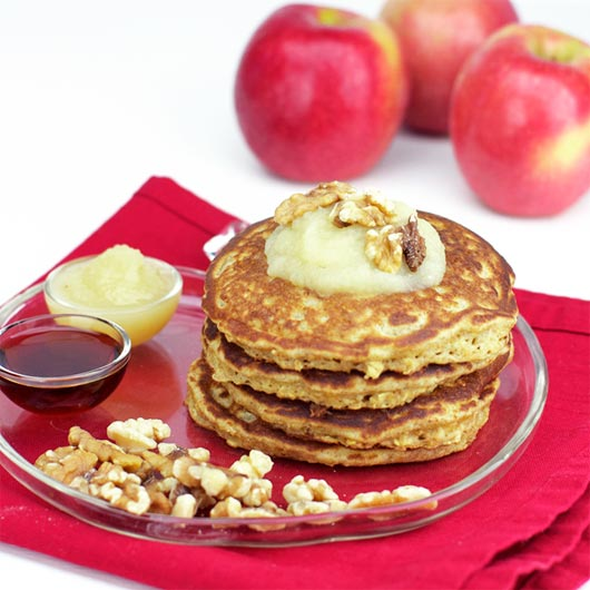 Serving of Applesauce Oatmeal Pancakes